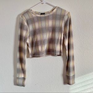 Plaid long sleeved thermal crop top, size medium!